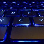 Glowing Asus laptop keyboard