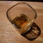 Whiskey in a square-shaped shot glass