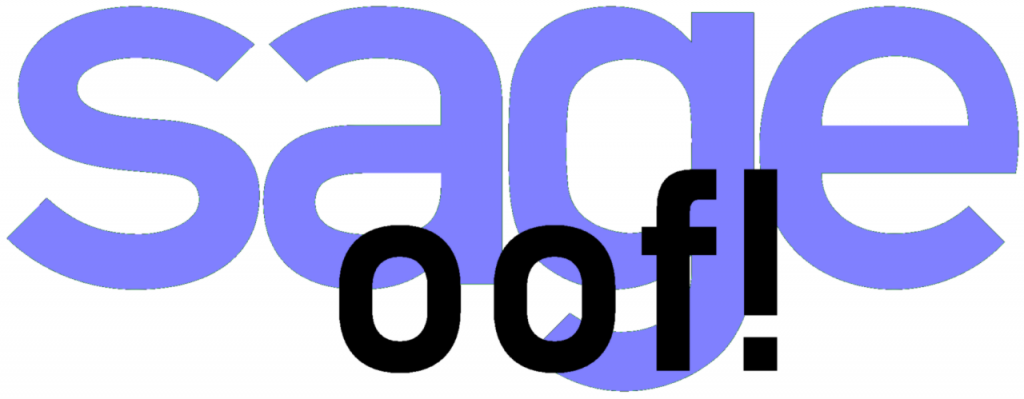 "Sage Software logo with ""oof!"" overlaid"