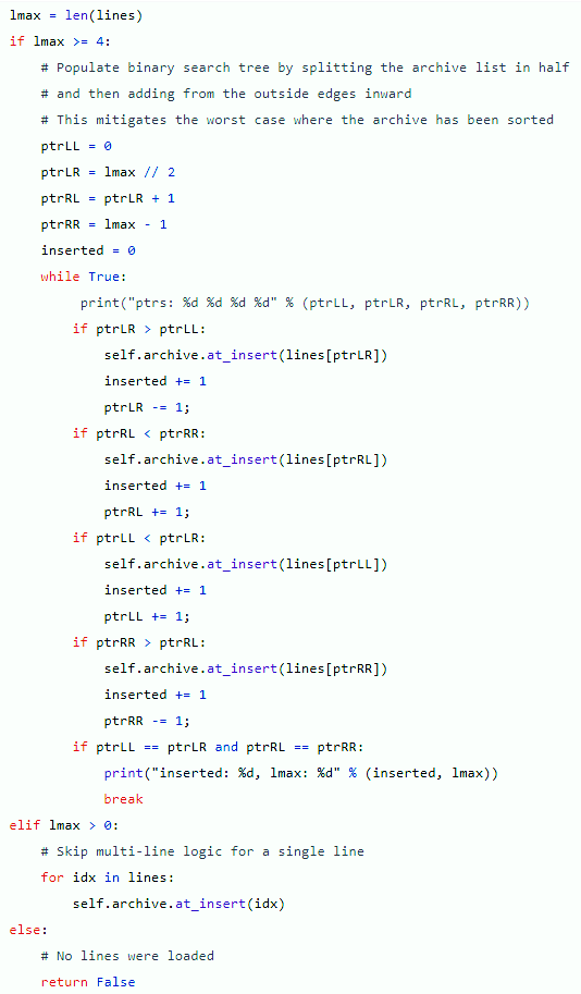 Python code to attempt to add a sorted list to a binary tree