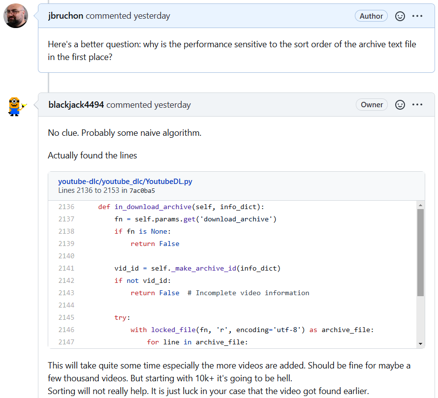 Discussion about the code causing the problem