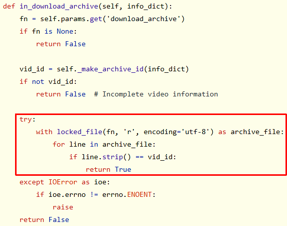 Problematic code from youtube-dl